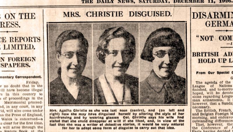Статья в газете о пропаже Агаты Кристи