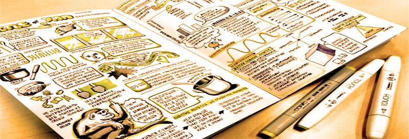 Визуальные конспекты лучше делать ручкой или маркером, а не карандашом